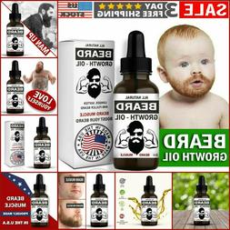 Men Beard Mustache Growth Oil Serum Grooming Growing Facial
